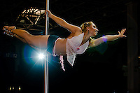Breavest competitor winner Edit Deri performs on the pole during the first ever Hungarian Pole Dance Championships organized by former striptease world champion Alma Pirner as part of the Erotic Exhibition held in Hungexpo center. in Budapest, Hungary on September 06, 2008. ATTILA VOLGYI