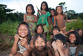 Aldeia Baú, Para State, Brazil. Group of children smiling at the camera.