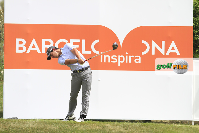 Matteo Manassero (ITA) on the 9th tee during Round 1 of the Open de Espana  in Club de Golf el Prat, Barcelona on Thursday 14th May 2015.<br /> Picture:  Thos Caffrey / www.golffile.ie