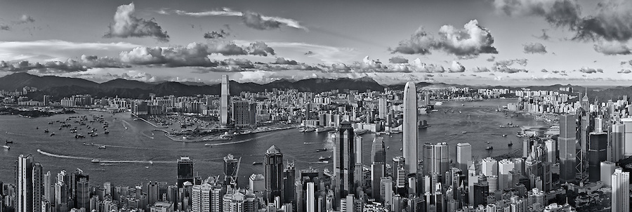 Central and Kowloon from the Peak on Hong Kong Island.  A ten-image panorama facing North-East.