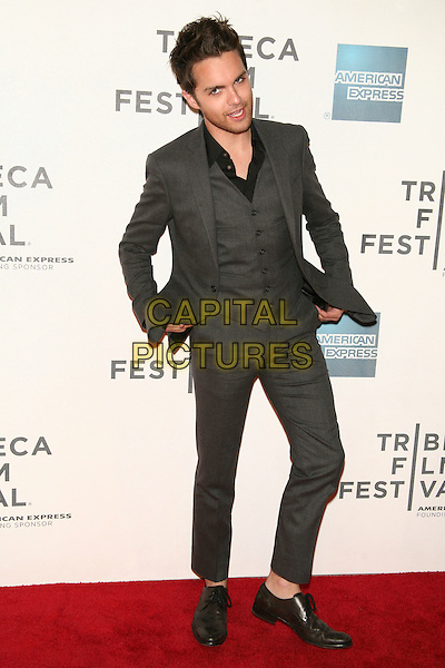 "THOMAS DEKKER .attends the 10th Anniversary Edition of the Tribeca Film Festival - World Premiere of ""Angels Crest"" at the Tribeca Performing Arts Center, New York, NY, USA, April 22nd, 2011..full length grey gray suit waistcoat black shirt  cropped trousers .CAP/LNC/TOM.©LNC/Capital Pictures."