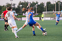 Boston, MA - Friday August 04, 2017: Shea Groom and Angela Salem during a regular season National Women's Soccer League (NWSL) match between the Boston Breakers and FC Kansas City at Jordan Field.