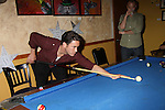 As The World Turns Tom Pelphrey shoots pool with Dennis watching at the Celebrity Bartending Bash on May 14 at Martini's Upstairs, Marco Island, Florida - SWFL Soapfest Charity Weekend May 14 & !5, 2011 benefitting several children's charities including the Eimerman Center providing educational & outreach services for children for autism. see www.autismspeaks.org. (Photo by Sue Coflin/Max Photos)