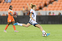 Houston, TX - Saturday July 08, 2017: Allie Long takes a shot at the Houston goal during a regular season National Women's Soccer League (NWSL) match between the Houston Dash and the Portland Thorns FC at BBVA Compass Stadium.