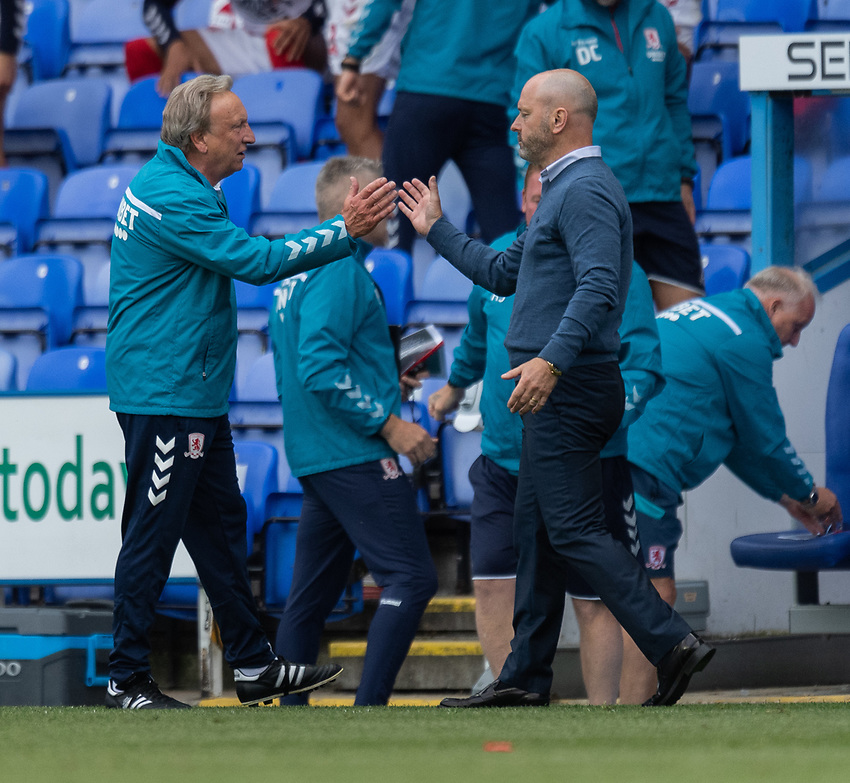 Middlesbrough manager Neil Warnock (left)  and Reading manager Mark Bowen (right) at the end the match<br /> <br /> Photographer David Horton/CameraSport<br /> <br /> The EFL Sky Bet Championship - Reading v Middlesbrough - Tuesday July 14th 2020 - Madejski Stadium - Reading<br /> <br /> World Copyright © 2020 CameraSport. All rights reserved. 43 Linden Ave. Countesthorpe. Leicester. England. LE8 5PG - Tel: +44 (0) 116 277 4147 - admin@camerasport.com - www.camerasport.com