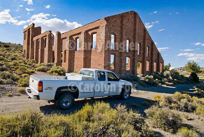 Brick walls of an abandoned gold mill ruins