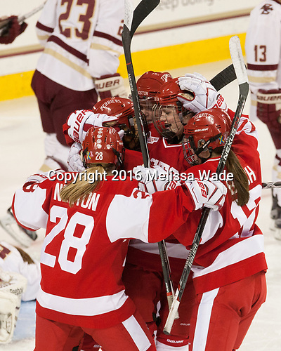 Savannah Newton (BU - 28), Nina Rodgers (BU - 23), Alexis Crossley (BU - 25), Mary Parker (BU - 15), Victoria Bach (BU - 12) - The Boston College Eagles defeated the visiting Boston University Terriers 5-3 (EN) on Friday, November 4, 2016, at Kelley Rink in Conte Forum in Chestnut Hill, Massachusetts.The Boston College Eagles defeated the visiting Boston University Terriers 5-3 (EN) on Friday, November 4, 2016, at Kelley Rink in Conte Forum in Chestnut Hill, Massachusetts.