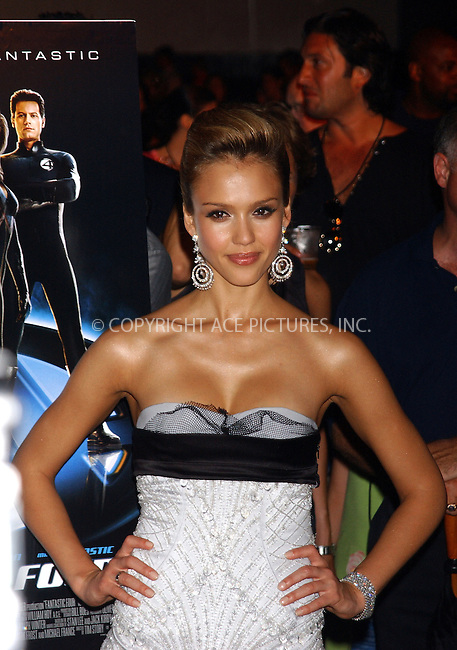 WWW.ACEPIXS.COM . . . . . ....NEW YORK, JULY 6, 2005....Jessica Alba at the 'Fantastic Four' Premiere held at Liberty Island in New York Harbor.....Please byline: KRISTIN CALLAHAN - ACE PICTURES.. . . . . . ..Ace Pictures, Inc:  ..Craig Ashby (212) 243-8787..e-mail: picturedesk@acepixs.com..web: http://www.acepixs.com