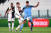 20th July 20202, Allianz Stadium, Turin, Italy; Serie A football league, Juventus versus Lazio; Sergej Milinkovic-Savic challenges Aaron Ramsey
