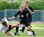 28 August 2009: University of Montreal Carabins' midfielder Catherine Delmas-Frenette in action against the University of Vermont Catamounts during the 2009 TD Bank Women's Soccer Classic at Centennial Field in Burlington, Vermont. The Catamounts defeated the Carabins 3-2 in sudden death overtime. Mandatory Photo Credit: Ed Wolfstein Photo
