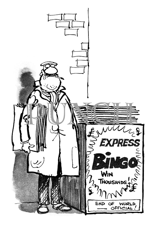 (A newspaper seller stands by a newstand with a poster for the Express where the Bingo game is advertised in huge letters, while the news - the end of the world - is in a small box at the bottom)