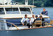 United States President George H.W. Bush and President Boris Yeltsin of the Russian Federation take a boat ride on the Severn River in Maryland on June 17, 1992. <br />