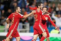 Spain's Koke Resurrecccion (l), Isco and Jordi Alba celebrates goal during 15th UEFA European Championship Qualifying Round match. November 15,2014.(ALTERPHOTOS/Acero) /NortePhoto nortephoto@gmail.com