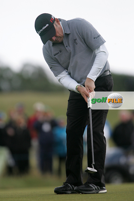 Paul MCGINLEY (IRL) on the 9th green during round 3 of the 2015 Dubai Duty Free Irish Open hosted by the Rory Foundation, Royal County Down Golf Club, Newcastle Co Down, Northern Ireland. 30/05/2015<br /> Picture TJ Caffrey, www.golffile.ie