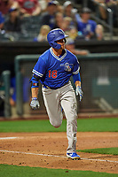 Jon Kemmer (18) of the Oklahoma City Dodgers hustles to first base against the Salt Lake Bees at Smith's Ballpark on July 31, 2019 in Salt Lake City, Utah. The Dodgers defeated the Bees 5-3. (Stephen Smith/Four Seam Images)