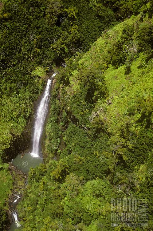 aerial Kauai waterfall Waimea Valley headwaters drain Alakai Swamp