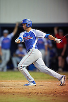 College of Central Florida Patriots Micah Byrd (28) at bat during a game against the SCF Manatees on February 8, 2017 at Robert C. Wynn Field in Bradenton, Florida.  SCF defeated Central Florida 6-5 in eleven innings.  (Mike Janes/Four Seam Images)