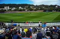 A general view during the One Day International cricket match between the NZ Black Caps and Pakistan at the Basin Reserve in Wellington, New Zealand on Saturday, 6 January 2018. Photo: Dave Lintott / lintottphoto.co.nz