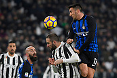 9th December 2017, Allianz Stadium, Turin, Italy; Serie A football, Juventus versus Inter Milan; Matias Vecino wins the header over Gonzalo Higuain