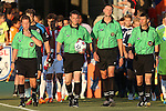 14 June 2014: Match Officials. From left: Assistant Referee Danny Thornberry, Referee Mark Kadlecik, Fourth Official Matthew Jozatis, Assistant Referee James Conlee. The Carolina RailHawks of the North American Soccer League played Chivas USA of Major League Soccer at WakeMed Stadium in Cary, North Carolina in the fourth round of the 2014 Lamar Hunt U.S. Open Cup soccer tournament. The RailHawks advanced by winning a penalty kick shootout 3-2 after the game had ended in a 1-1 tie after overtime.