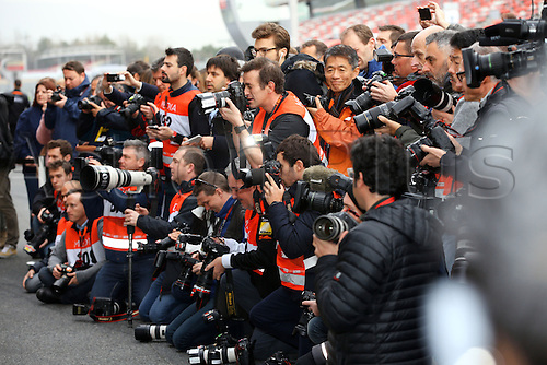 22.02.2016. Barcelona, Spain.  Press photographers take pictures during the launch of the new cars for the upcoming Formula One season at the Circuit de Barcelona - Catalunya in Barcelona, Spain.