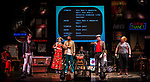 REASONS TO BE CHEERFUL by Sirett;<br /> Stephen Collins as Colin;<br /> Karen Spicer as Pat;<br /> Max Runham as Nick/Dave;<br /> Joey Hickman as Cousin Joey - keyboards;<br /> Paula Stanbridge-Faircloth as Paula - drums;<br /> Louis Schultz-Wiremu - as Louis - saxophone;<br /> Directed by Sealey;<br /> Associate director: Beeton;<br /> Writer: Sirett;<br /> Designer: Ashcroft;<br /> Assistant designer: Charlesworth;<br /> Lighting designer: Scott;<br /> Sound designer: Gibson;<br /> Musical director: Hickman;<br /> Choreographer: Smith;<br /> Video designer: Haig;<br /> Projection design: Mclean; <br /> Music supervisor and Arrangements: Hyman;<br /> Voice coach: Holt; Casting: Hughes CDG<br /> BSL consultant: Jackson<br /> Audio description consultant: Oshodi<br /> Graeae Theatre Company;<br /> at The Belgrade Theatre, Coventry, UK;<br /> 8 September 2017;<br /> Credit: Patrick Baldwin;
