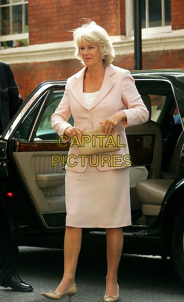 CAMILLA, DUCHESS OF CORNWALL.Visiting St.Mary's Hospital in Paddington, London..July 8th 2005..full length royal pink dress suit brown clutch purse.www.capitalpictures.com.sales@capitalpictures.com.© Capital Pictures.
