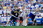 FOXBORO, MA - MAY 28: John Bassett #4 of the Merrimack Warriors during the Division II Men's Lacrosse Championship held at Gillette Stadium on May 28, 2017 in Foxboro, Massachusetts. (Photo by Larry French/NCAA Photos via Getty Images)