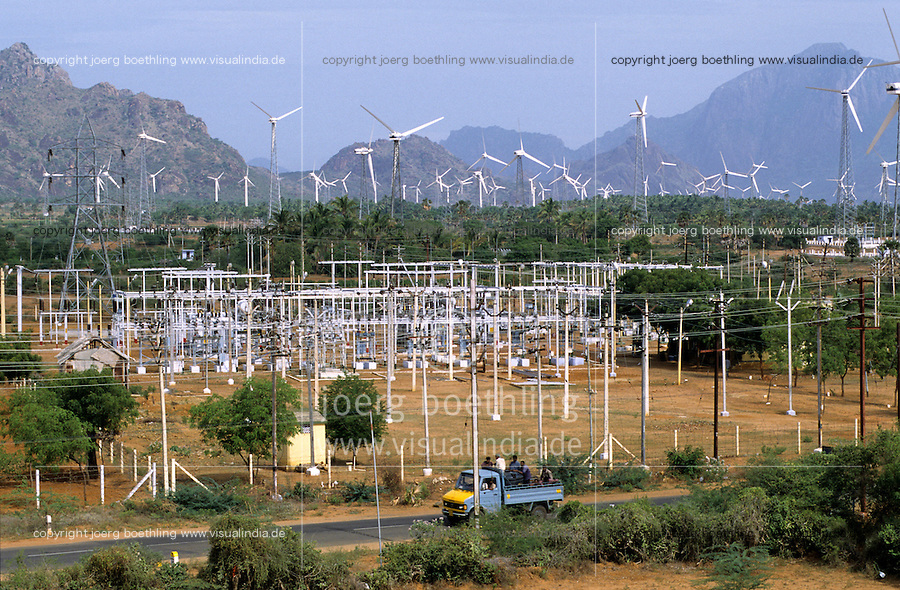 INDIA, Tamil Nadu, Kanyakumari, Cape Comorin, Muppandal, transformation station and windfarm with Vestas wind turbine on lattice steel tower / INDIEN Kanniyakumari, Kap Komorin, Trafo Station und Windpark mit Vestas Windkraftanlagen auf Stahlgittermast