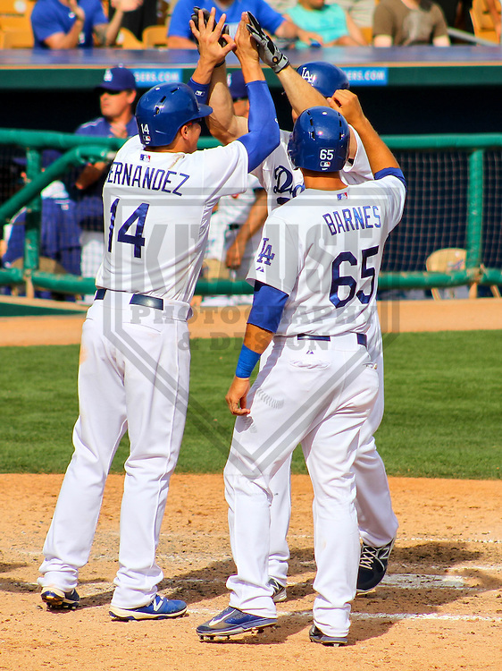GLENDALE - March 2015: Matt Carson (55) Kike Hernandez (14) and Austin Barnes (65) of the Los Angeles Dodgers during a spring training game against the Cleveland Indians on March 17th, 2015 at Camelback Ranch in Glendale, Arizona. (Photo Credit: Brad Krause)