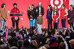 Vice President Joseph R. Biden, center, gives a thumbs up as he stands with his extended family on stage at the Unite America in Service event, part of the National Day of Service, at the DC Armory on Saturday, January 19, 2013 in Washington, DC.