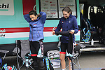 Giusfredi Bianchi team riders get ready before the start of the Ladies 2017 Strade Bianche running 127km from Siena to Siena, Tuscany, Italy 4th March 2017.<br /> Picture: Eoin Clarke | Newsfile<br /> <br /> <br /> All photos usage must carry mandatory copyright credit (&copy; Newsfile | Eoin Clarke)