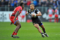 Jonathan Joseph of Bath Rugby in possession. European Rugby Champions Cup match, between Bath Rugby and RC Toulon on January 23, 2016 at the Recreation Ground in Bath, England. Photo by: Patrick Khachfe / Onside Images