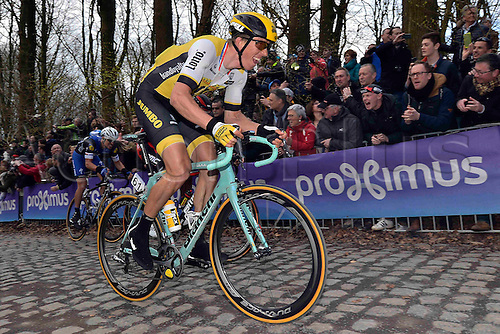 27.03.2016. Deinze, Belgium.  VANMARCKE Sep (BEL) Rider of TEAM LOTTO NL - JUMBO in action on the Kemmelberg during the Flanders Classics UCI World Tour 78nd Gent-Wevelgem cycling race with start in Deinze and finish in Wevelgem