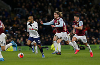 7th March 2020; Turf Moor, Burnley, Lanchashire, England; English Premier League Football, Burnley versus Tottenham Hotspur; Lucas of Tottenham Hotspur breaks through midfield with Jeff Hendrick and Ashley Westwood of Burnley in pursuit