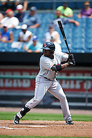 Pawtucket Red Sox outfielder Jackie Bradley Jr. (19) at bat during a game against the Syracuse Chiefs on July 6, 2015 at NBT Bank Stadium in Syracuse, New York.  Syracuse defeated Pawtucket 3-2.  (Mike Janes/Four Seam Images)