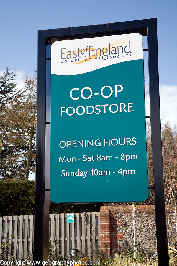 East of England Co-Op Foodstore sign opening hours, Aldeburgh, Suffolk