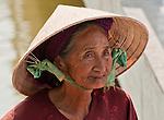 Vietnamese Lady - Elderly Vietnamese lady in conical 'non' hat, Hoi An, Viet Nam