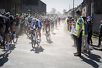 Tom Boonen (BEL/Quick-Step Floors) exiting the first part of the first cobbled sector from Troisvilles to Inchy<br /> <br /> 115th Paris-Roubaix 2017 (1.UWT)<br /> One Day Race: Compiègne › Roubaix (257km)
