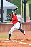 Elizabethton Twins center fielder Gilberto Celestino (25) at bat during game two of the Appalachian League Championship Series against the Princeton Rays at Joe O'Brien Field on September 5, 2018 in Elizabethton, Tennessee. The Twins defeated the Rays 2-1 to win the Appalachian League Championship. (Tony Farlow/Four Seam Images)