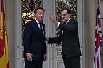 Spain´s Prime Minister Mariano Rajoy (R) receives British Prime Minister David Cameron at Moncloa Palace in Madrid, Spain. Spetember 04, 2015. (ALTERPHOTOS/Victor Blanco)