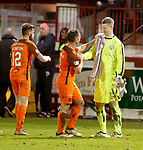 17.04.18 Brechin City v Dundee utd:<br /> Scott McDonald commiserates with Brechin keeper Graeme Smith at full time