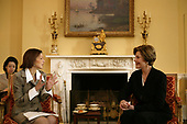 United States first lady Laura Bush hosts a coffee for Princess Alexandra of Denmark in the private residence of the White House in Washington, D.C.  Tuesday, January 14, 2004. <br /> Mandatory Credit: Susan Sterner / White House via CNP