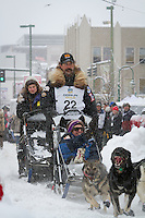 Mike Santos leaves the 2011 Iditarod ceremonial start line in downtown Anchorage, during the 2012 Iditarod..Jim R. Kohl/Iditarodphotos.com