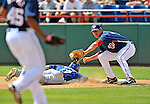 15 March 2008: Washington Nationals' infielder Matt Whitney attempts to pick off Jason Repko during a Spring Training game against the Los Angeles Dodgers at Space Coast Stadium, in Viera, Florida...Mandatory Photo Credit: Ed Wolfstein Photo1