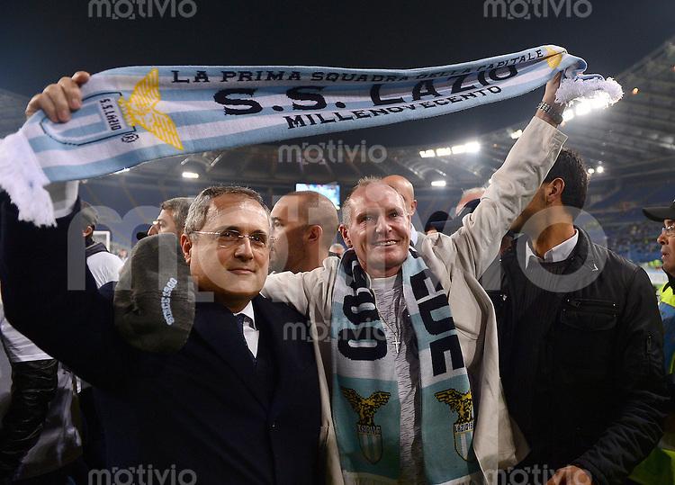 FUSSBALL   EUROPA LEAGUE   SAISON 2012/2013   22.11.2012 Lazio Rom - Tottenham Hotspur FC  Claudio Lotito und Paul Gascoigne (v. li.)