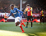 Joe Dodoo scores to equalise for Rangers and celebrates to the Rangers fans