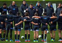 Pumas coach Daniel Hourcade talks to his team during the Argentina Pumas rugby captain's run at Waikato Stadium in Hamilton, New Zealand on Friday, 9 September 2016. Photo: Dave Lintott / lintottphoto.co.nz