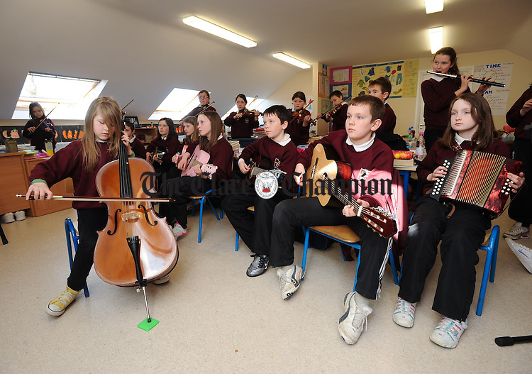 Young musicians practice their craft  at St Joseph's National School, Kinvara. Photograph by John Kelly.