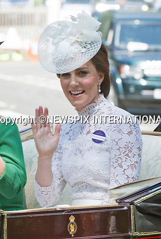 20.06.2017; Ascot, UK: DUCHESS OF CAMBRIDGE AND SOPHIE, COUNTESS OF WESSEX <br />ride in the royal procession at the start of Royal Ascot 2017<br />Mandatory Credit Photo: &copy;Dias/NEWSPIX INTERNATIONAL<br /><br />IMMEDIATE CONFIRMATION OF USAGE REQUIRED:<br />Newspix International, 31 Chinnery Hill, Bishop's Stortford, ENGLAND CM23 3PS<br />Tel:+441279 324672  ; Fax: +441279656877<br />Mobile:  07775681153<br />e-mail: info@newspixinternational.co.uk<br />Usage Implies Acceptance of OUr Terms &amp; Conditions<br />Please refer to usage terms. All Fees Payable To Newspix International